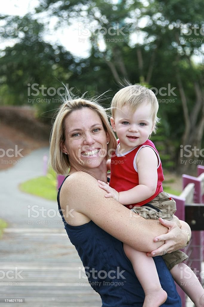 Happy active Mother & Son outdoors royalty-free stock photo