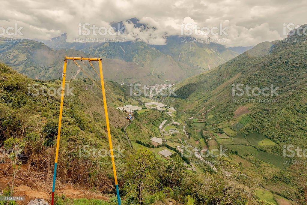 Happy Adult Caucasian Man Swinging On A Swing stock photo