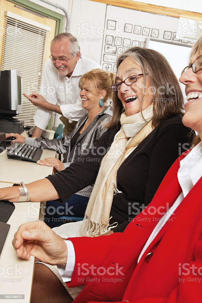 Happy Adults in Computer Lab royalty-free stock photo