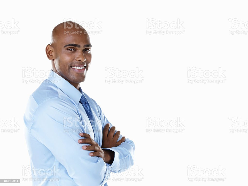 Happy African American business man with hands folded royalty-free stock photo