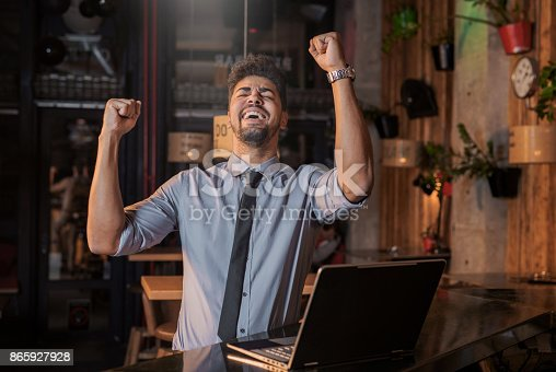 istock Happy African American businessman celebrating his success 865927928