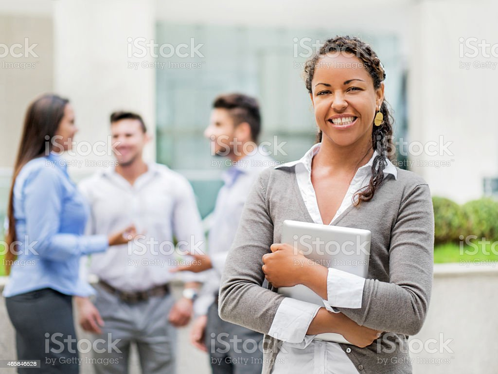 Happy African American businesswoman. stock photo