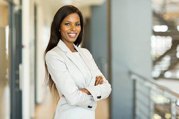 happy african american businesswoman stock photo