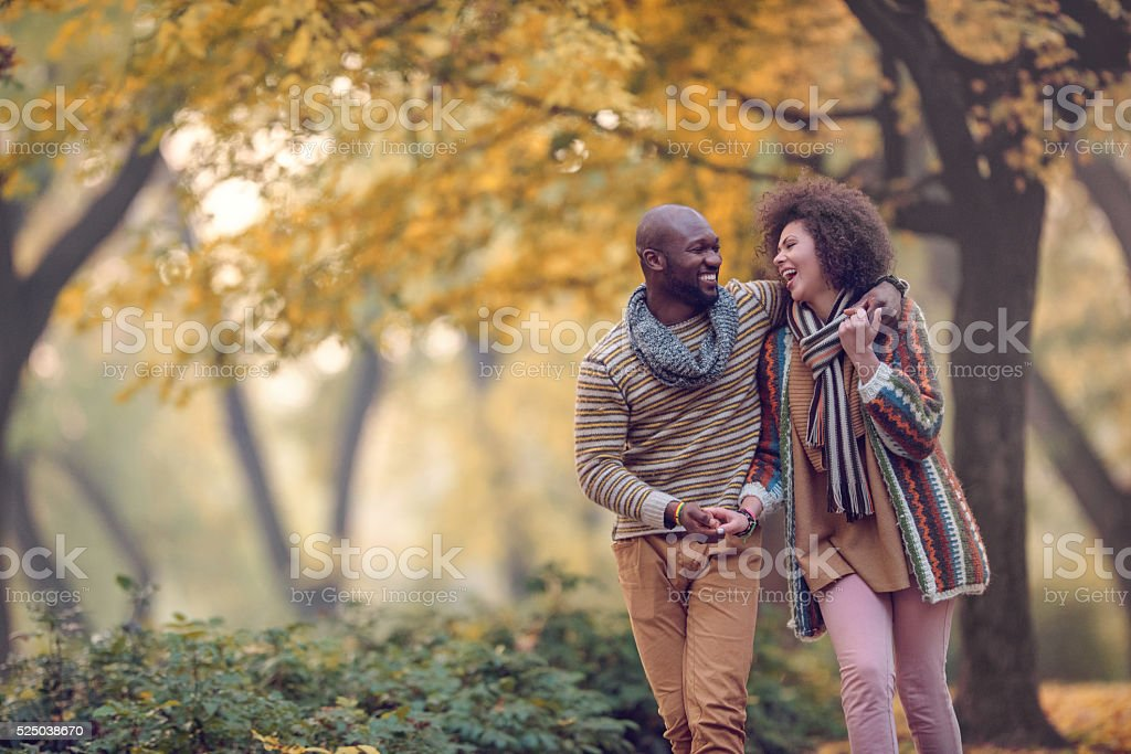 Happy African American couple walking in autumn park and laughing. stock photo