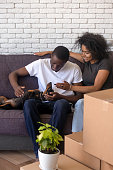 Happy African American couple in love with dog just moving in new house, sitting on comfortable sofa in living room, handsome man with attractive smiling woman pet dachshund, vertical