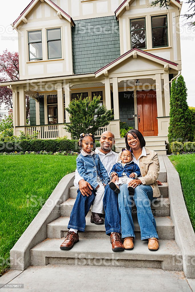 Happy African American Family at Home stock photo