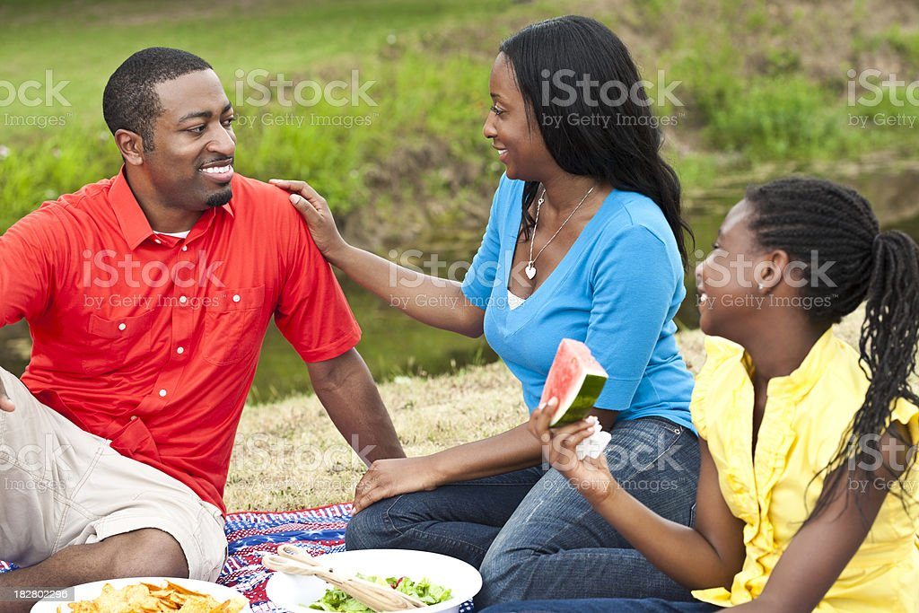Happy African American Family Having Picnic at a Park stock photo