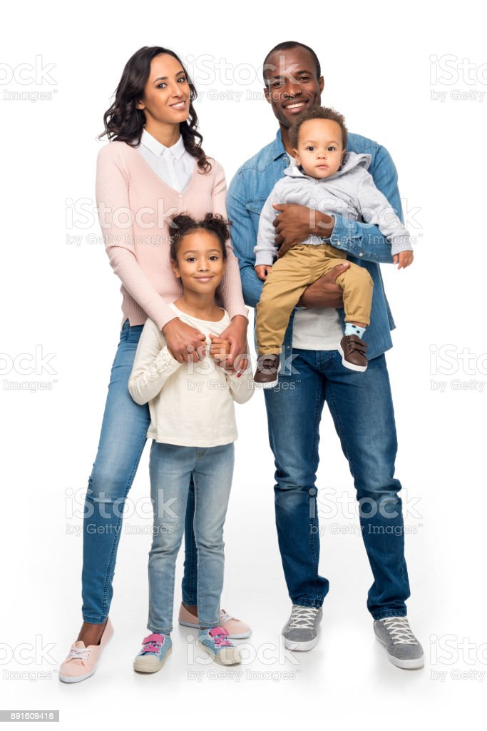 happy african american family with two kids stock photo