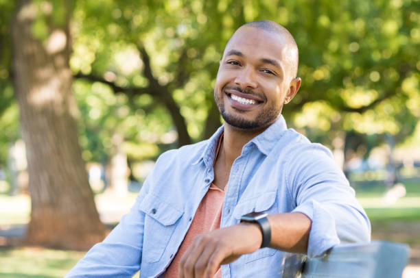 Happy african american man stock photo