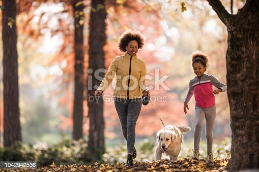 Happy black mother and daughter jogging with a dog in autumn day.