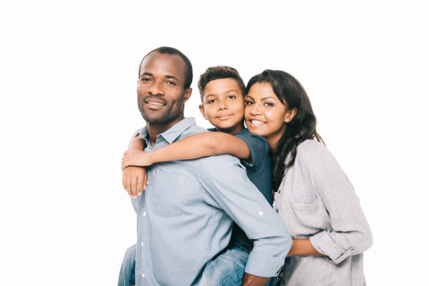 happy african american parents with son stock photo