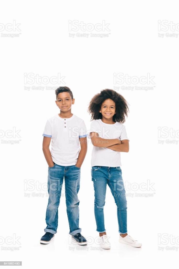 happy african american siblings stock photo
