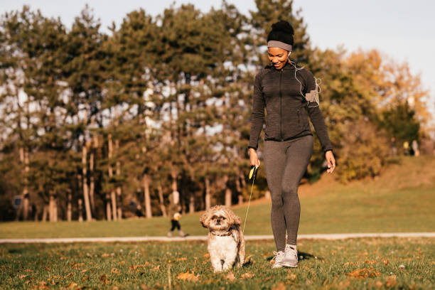 Happy African American sportswoman and her dog walking in nature. Happy black athletic woman walking with her dog in the park. walking stock pictures, royalty-free photos & images