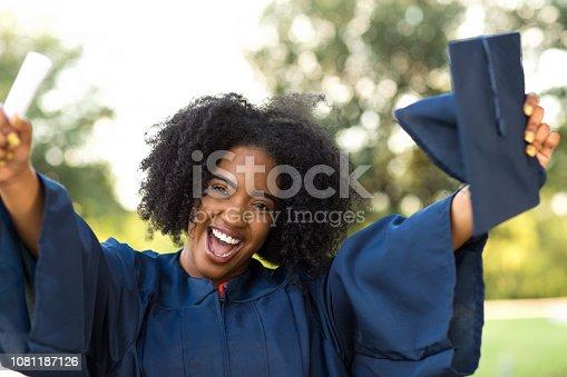 istock Happy African American woman at graduation. 1081187126