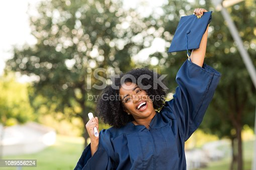 istock Happy African American woman at graduation. 1089556224