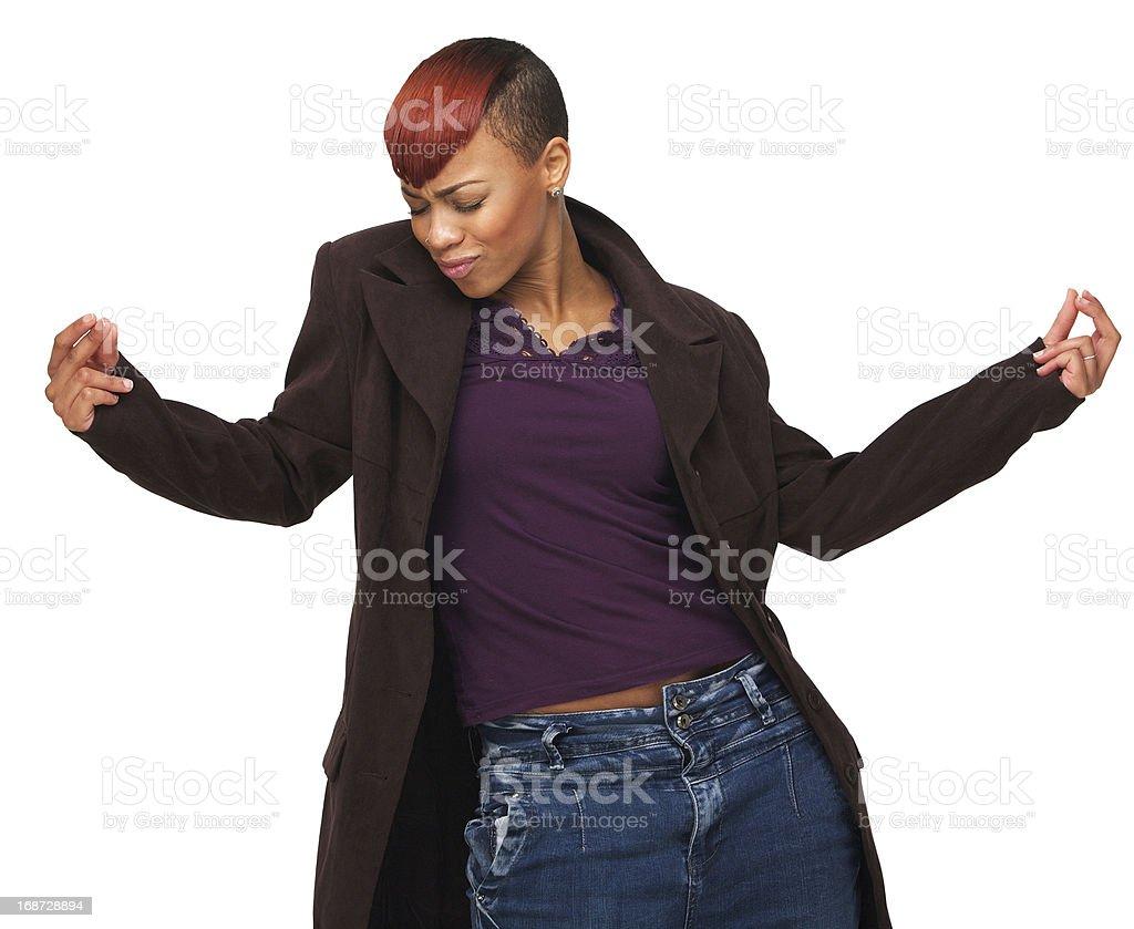 Happy African American Woman Dancing stock photo