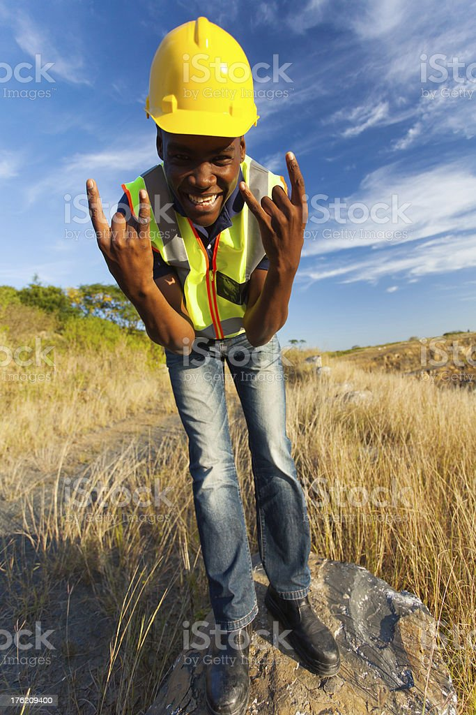 happy african construction worker royalty-free stock photo