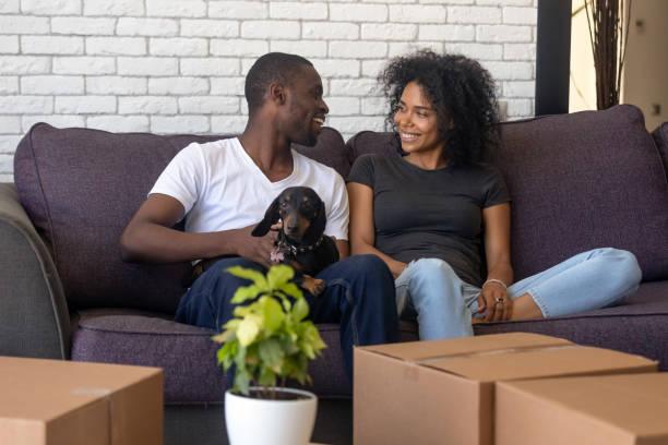 casal feliz africano, movendo-se para a nova casa com caixas de estimação - dia do cliente - fotografias e filmes do acervo
