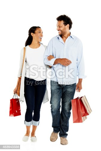 istock Happy african couple with shopping bags 453943335
