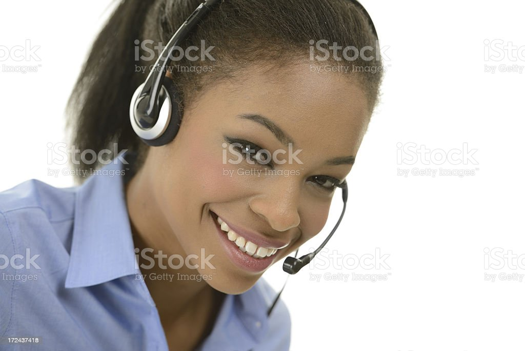 Happy african customer service woman royalty-free stock photo