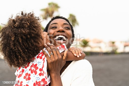 istock Happy African family on the beach during summer holidays - Afro American people having fun on vacation time - Parents love unity and travel lifestyle concept 1263013720