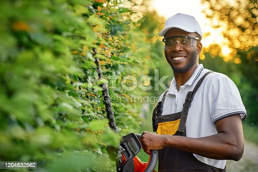 Happy african man wearing special clothing and protective glasses cutting bushes with petrol hedge trimmer. Cheerful male gardener in brown overall using gardening tools for plants