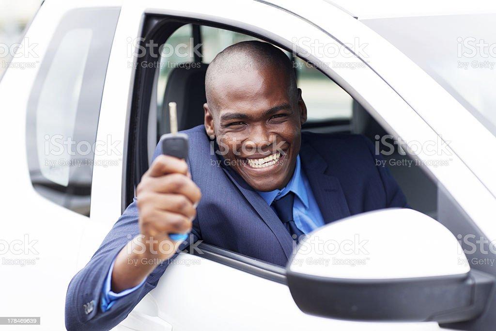 happy african vehicle buyer stock photo