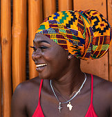 istock Happy African woman in the small village 1288325130