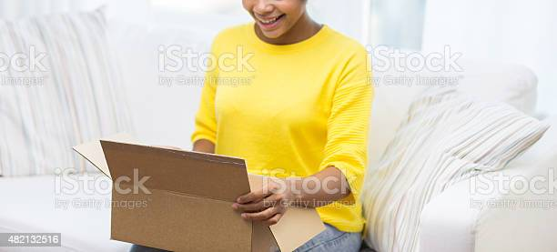 Happy african young woman with parcel box at home picture id482132516?b=1&k=6&m=482132516&s=612x612&h=c8igowbie3f5casadidfkbkfgpo2nyyenet jylltgs=