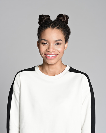 Happy Afro American Teenager Girl Stock Photo - Download Image Now
