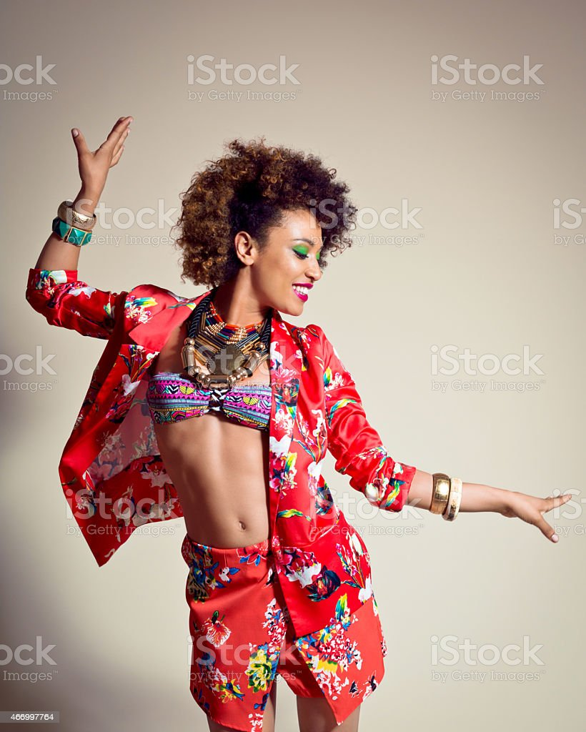 Happy Afro American Young Woman stock photo