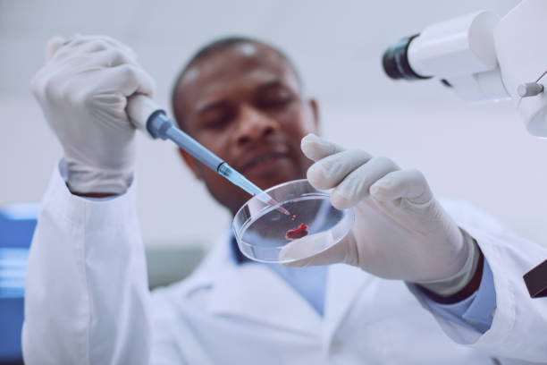 Happy afro-american researcher doing a blood test stock photo