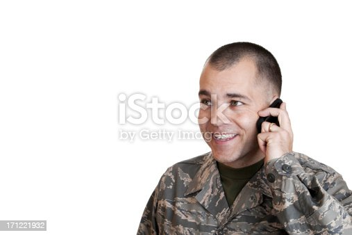 Married airman on Cell Phone.