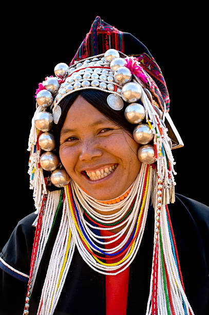 Happy Akha Woman stock photo
