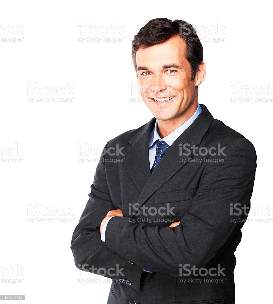 Happy and cheerful mature businessman royalty-free stock photo