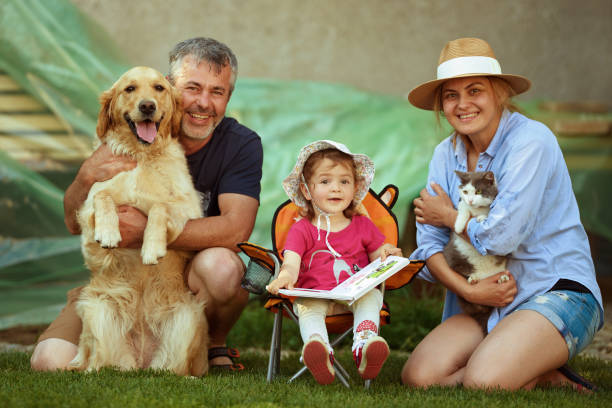 A happy and complete family! stock photo