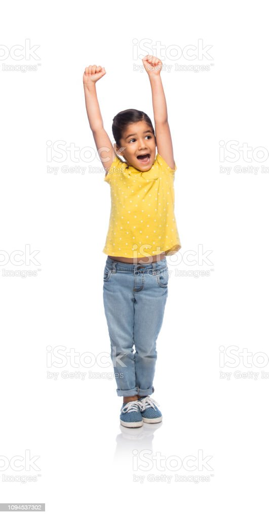 Happy and excited little girl stock photo