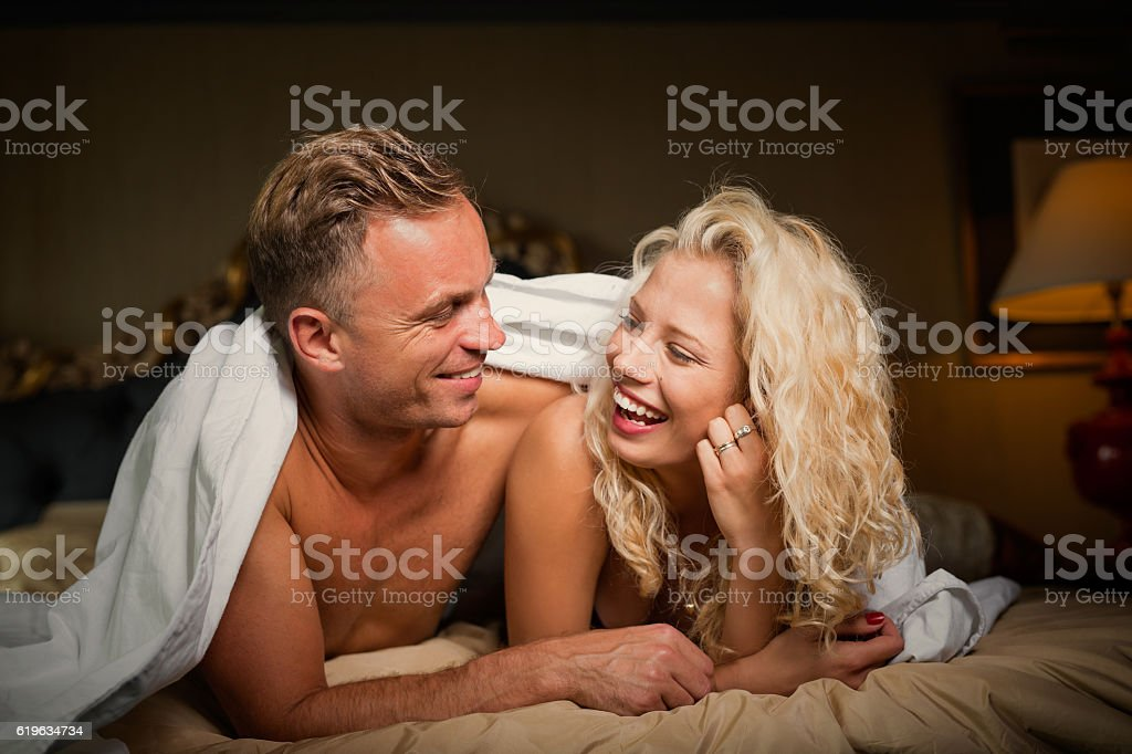 Happy and loving couple looking at each othe stock photo