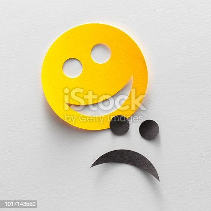 istock Happy and sad emoji smiley faces (or comedy and tragedy theater mask) 1017143552