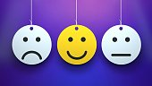 istock Happy and sad face icons. Smileys. Face symbols. 3D 1258075779