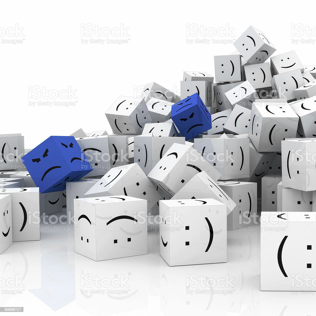 Happy and unhappy people (isolated on white) royalty-free stock photo