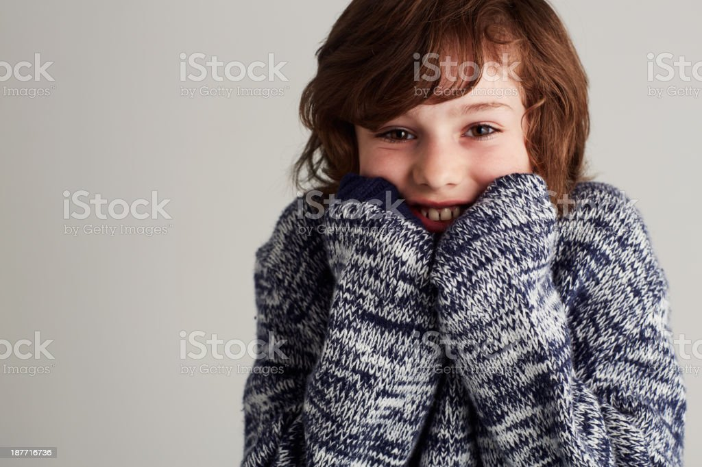 Happy and warm in my jersey stock photo