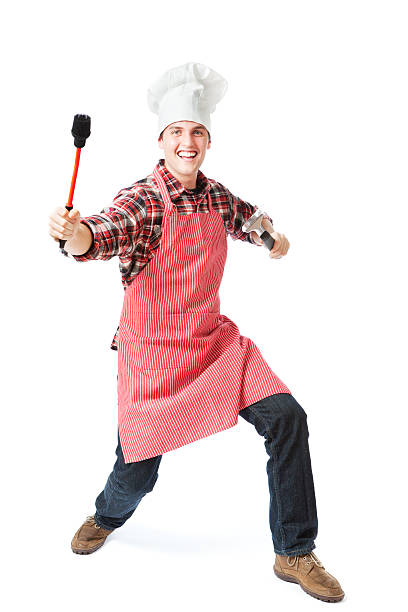 happy animierte aufgeregt barbecue mann auf weißem hintergrund - grillschürze stock-fotos und bilder