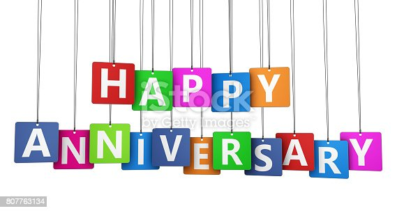 Happy anniversary sign on colorful paper tags 3D illustration isolated on white background.