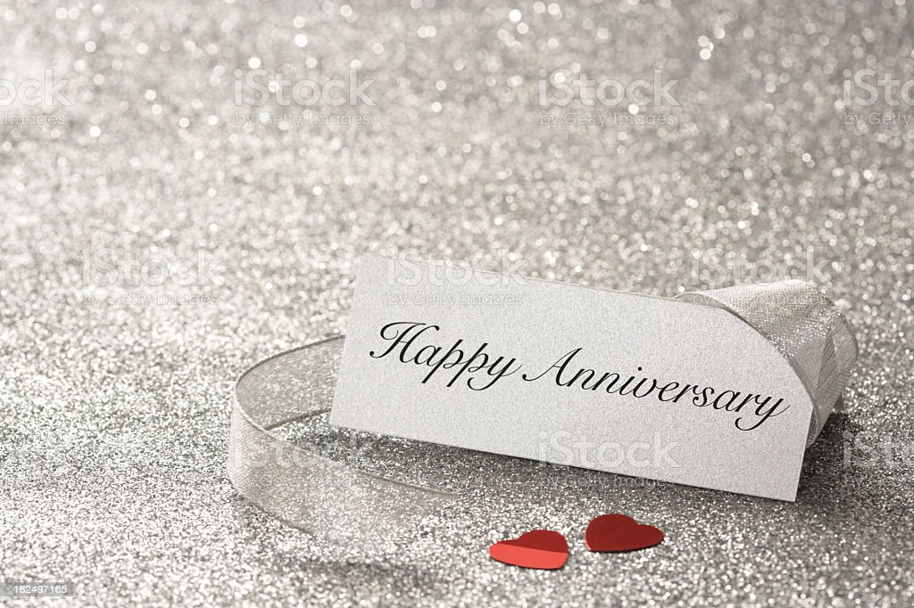 Happy Anniversary place card stock photo