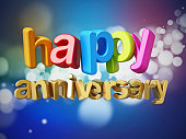 Happy anniversary text with multi colored letters on abstract background