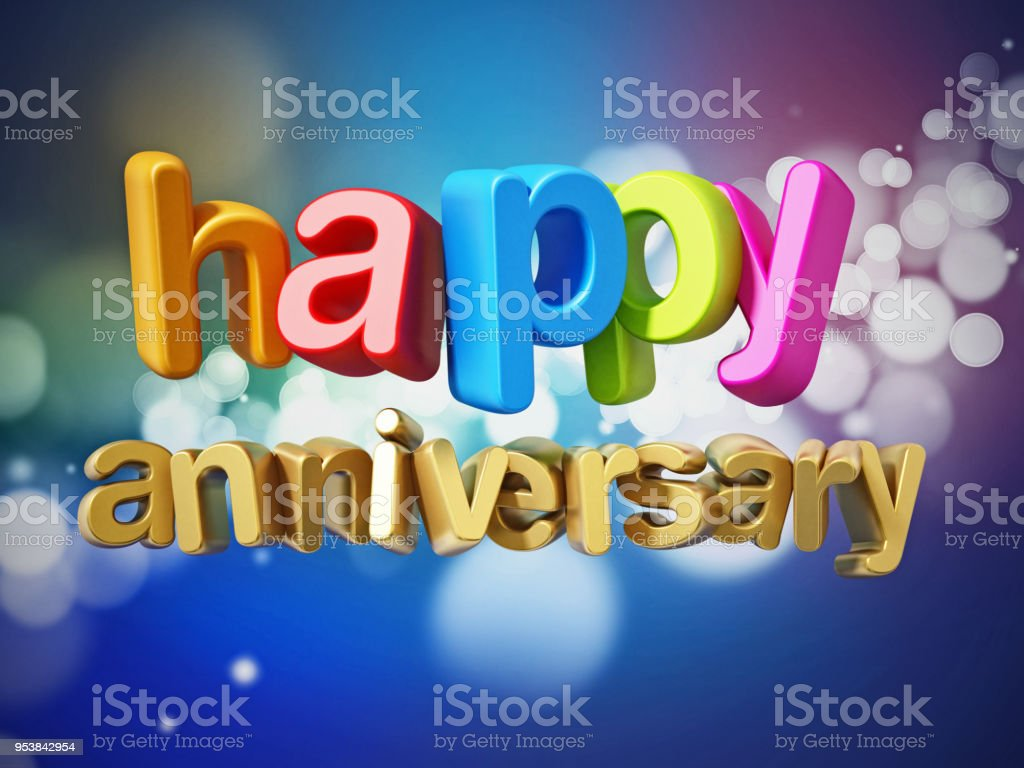 Happy anniversary text with multi colored letters on abstract background stock photo