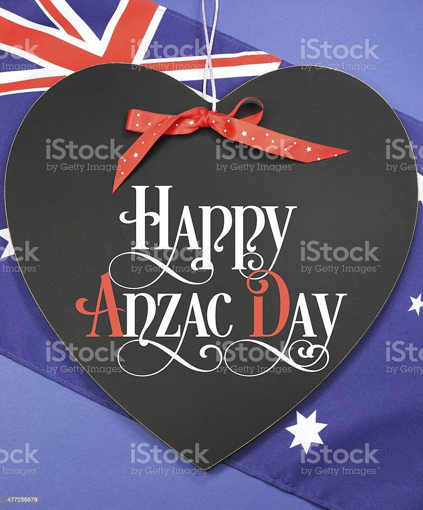 Happy Anzac Day greeting on heart shaped blackboard royalty-free stock photo