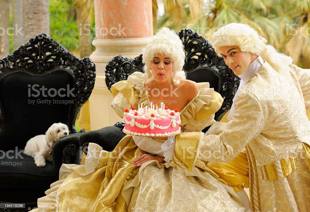 Happy Aristocratic Birthday with Cake stock photo