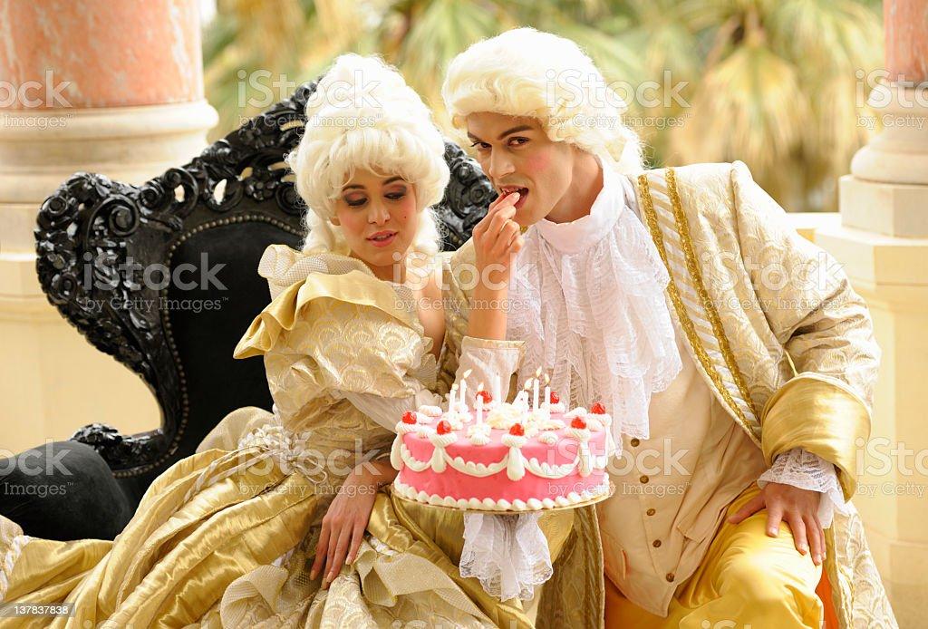 Happy Aristocratic Birthday with Tempting Cake stock photo